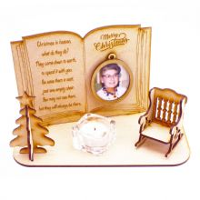 MDF wood Christmas in Heaven Chair Book Tree Stocking Bell Photo frame & Candle